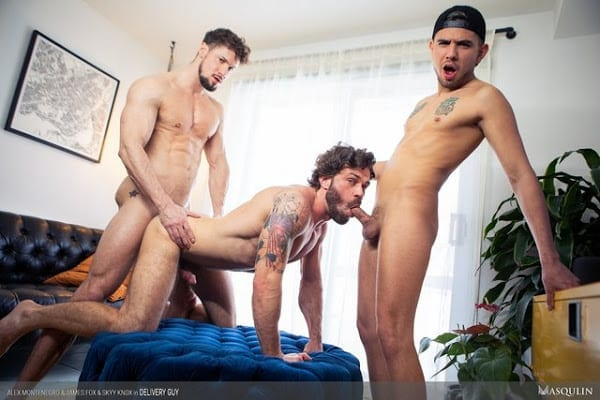 "ALEX MONTENEGRO , JAMES FOX , SKYY KNOX ""DELIVERY GUY"" (BAREBACK)"